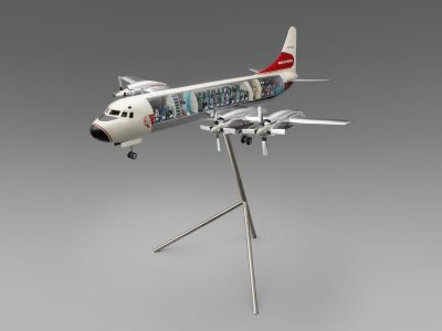 Western Airlines Lockheed L-188 Electra cutaway model aircraft with stand, 1990s